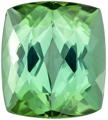 Gem Tourmaline Loose Gem in Cushion Cut, Mint Green Tinge of Sea foam, 10.7 x 9.4 mm, 5.61 carats