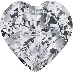 Genuine White Sapphire  Heart Cut in Grade AAA