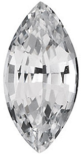 Genuine White Sapphire Marquise Cut in Grade AAA