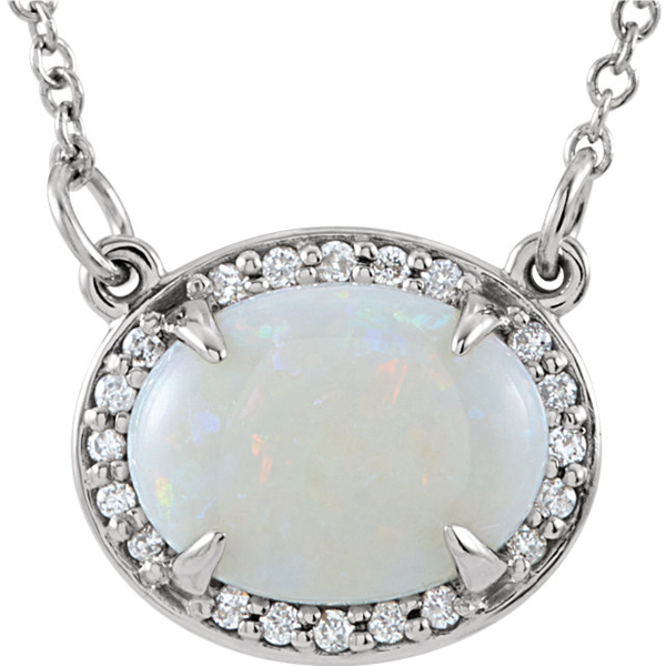 Genuine 1.1ct 9x7mm Australian White Opal Gemstone Halo Pendant in 14k Gold - .05ct Diamond Accents - FREE Chain