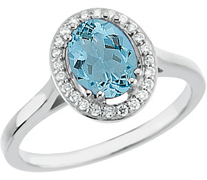 Genuine 1.45ct 8x6 mm Aquamarine Xtra Blue Gem Mounted in Diamond Gold Ring in 14 KT White Gold