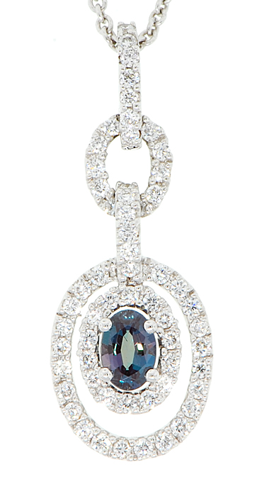 Genuine .22ct 5x3mm Oval Cut AAA Brazilian Origin Alexandrite and Diamond Pendant in 18 kt White Gold - FREE Chain