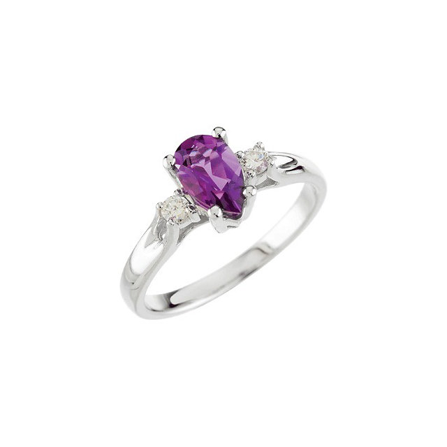 Eye Catchy Genuine Amethyst & Diamond Ring