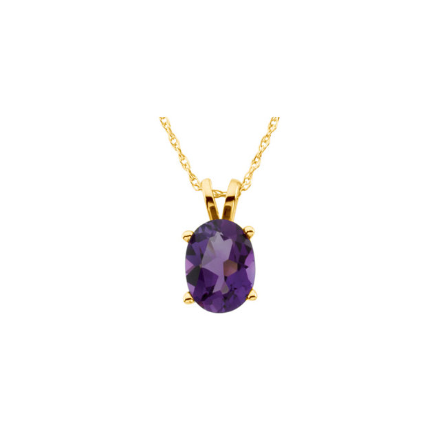 Low Price on Quality 14 KT Yellow Gold 8x6mm Oval Amethyst Solitaire 18