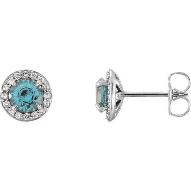 Fine Quality Genuine Aquamarine 4mm Round Aquamarine & 0.17 Carat Total Weight Diamond Earrings