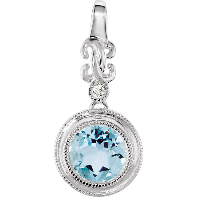 Great Gift in Sterling Silver Aquamarine & .01 Carat Total Weight Diamond Pendant
