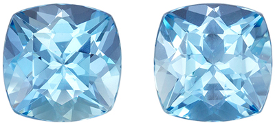 Genuine Beautiful Aquamarine Well Matched Pair, 7.4 mm, Vivid Sky Blue, Cushion Cut, 3.1 carats