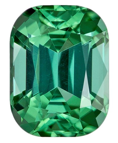 Genuine Blue Green Tourmaline Gemstone, Cushion Cut, 1.45 carats, 7.4 x 5.5 mm , AfricaGems Certified - A Gem of A Deal