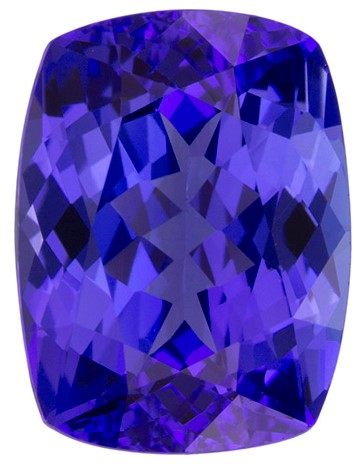 Genuine Vivid Tanzanite Gemstone, Cushion Cut, 2.98 carats, 9.8 x 7.3 mm , AfricaGems Certified - A Low Price