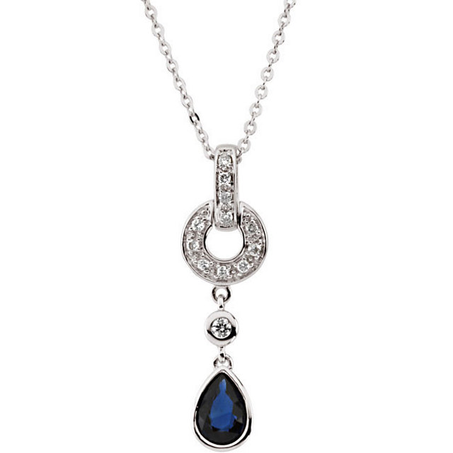 Perfect Gift Idea in 14 Karat White Gold Blue Sapphire & .08 Carat Total Weight Diamond 18