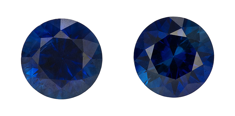 Genuine Blue Sapphire Gemstones, Round Cut, 0.45 carats, 3.5 mm Matching Pair, AfricaGems Certified - A Great Buy