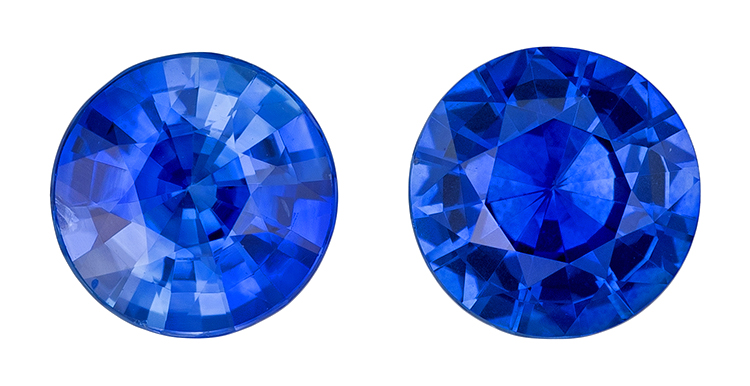 Genuine Blue Sapphire Gemstones, Round Cut, 1.13 carats, 5.1 mm Matching Pair, AfricaGems Certified - A Great Buy