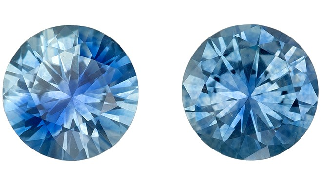 Genuine Blue Sapphire Gemstones, Round Cut, 1.04 carats, 5 mm Matching Pair, AfricaGems Certified - Great for Studs