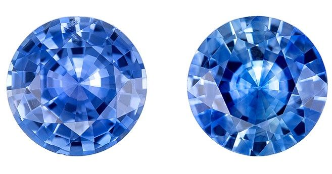 Genuine Blue Sapphire Round Shaped Gemstones Matched Pair, 1.67 carats, 5.9mm - Unique Beauty