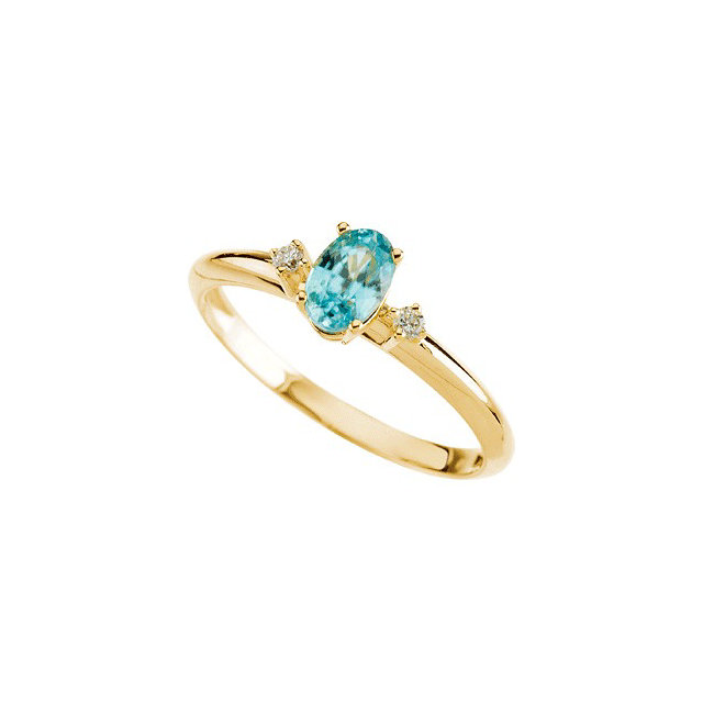 Genuine Zircon Ring in Oval Genuine Zircon & Diamond Ring