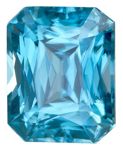 Genuine Blue Zircon Gemstone, Emerald Cut, 3.59 carats, 8.6 x 6.9 mm , AfricaGems Certified - A Low Price Top Gem