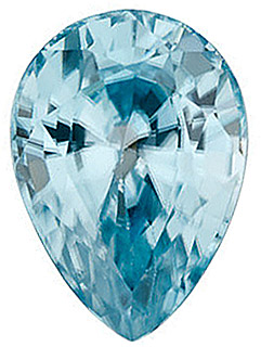 Loose Genuine Gem  Blue Zircon Stone, Pear Shape, Grade AA, 5.00 x 3.00 mm in Size,  0.32 Carats