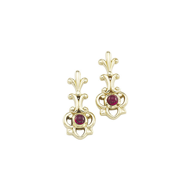 Contemporary Genuine Cabochon Ruby Earrings