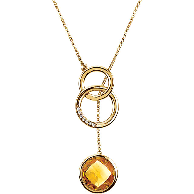 14 Karat Yellow Gold Checkerboard Citrine & .05 Carat Diamond 20