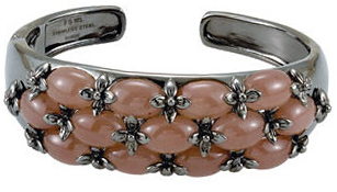 Genuine Chocolate Chalcedony Hinged Cuff Bracelet