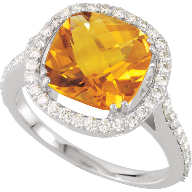 Eye Catchy Genuine Citrine & Diamond Ring