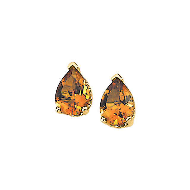 Stylish Citrine Pear Scroll Setting Earring