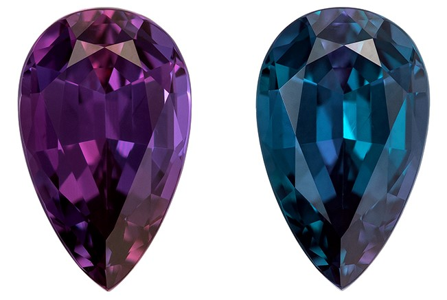 Genuine Color Change Alexandrite Gemstone, 1.12 carats, Pear Cut, 8.32 x 5.13 x 3.65 mm, A Beauty of a Gem with Gubelin Cert