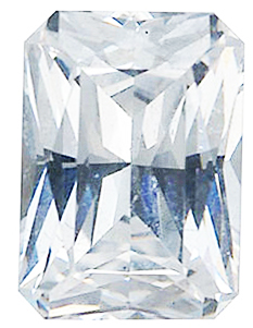 Genuine Colorless Cubic Zirconia Gemstone in Emerald Shape Radiant Cut Sized 12.00 x 10.00 mm