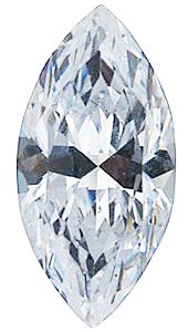 Genuine Colorless Cubic Zirconia Gemstone in Marquise Shape Sized 14.00 x 7.00 mm