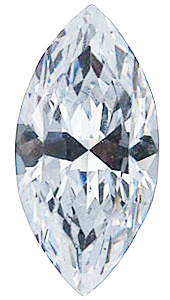 Genuine Colorless Cubic Zirconia Gemstone in Marquise Shape Sized 3.75 x 1.75 mm