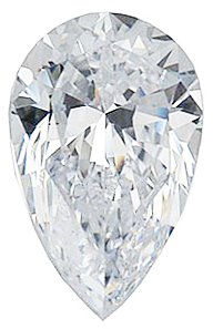 Genuine Colorless Enhanced Cubic Zirconia Gemstone in Pear Shape Sized 8.00 x 5.00 mm