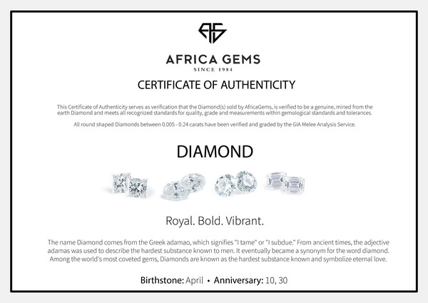 Genuine Diamonds in Round Cut GH Color - SI1 Clarity