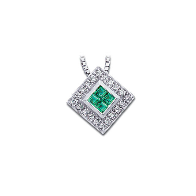 Lovely Square Genuine Emerald and Diamond Necklace
