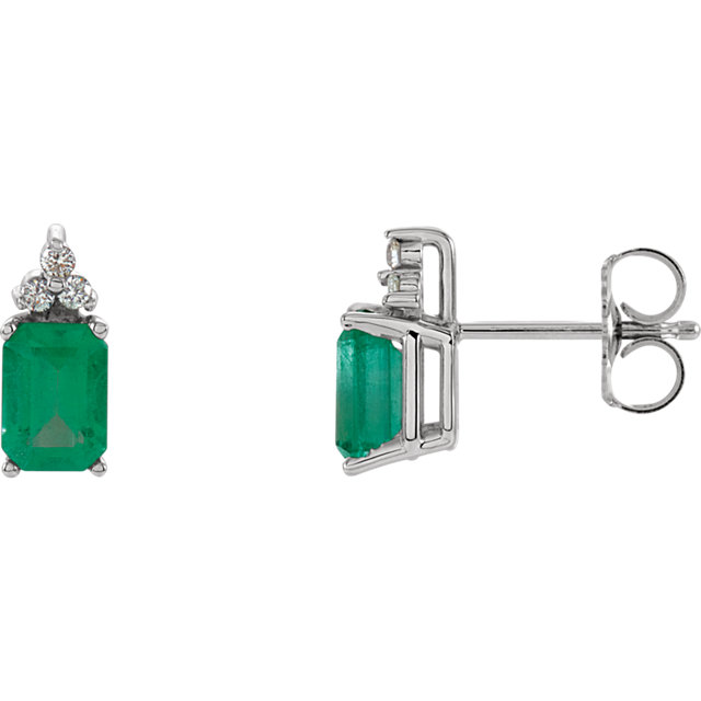 Great Gift in Genuine Emerald & Diamond Earrings