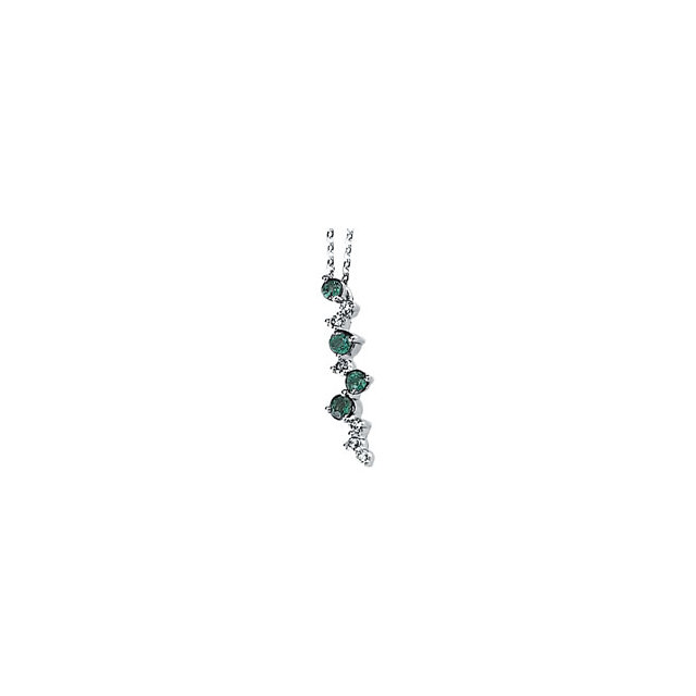 Contemporary 14 Karat White Gold Emerald & 0.10 Carat Total Weight Diamond Scattered Bar 18