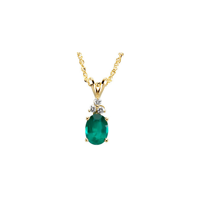Extraordinary 14 Karat Yellow Gold Oval Genuine Emerald & .10 Carat Total Weight Diamond Necklace