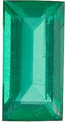 Faceted Emerald Stone, Baguette Shape, Grade A, 4.25 x 2.25 mm in Size, 0.15 Carats