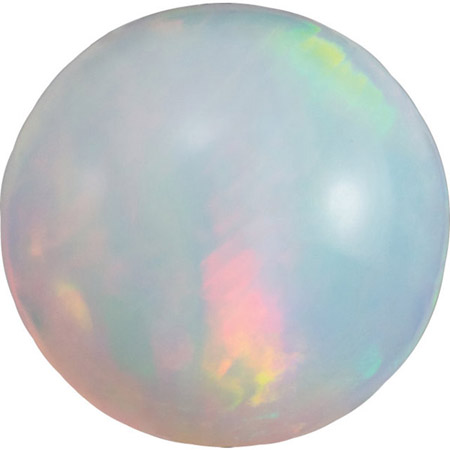 Genuine Gemstone  Loose Ethopian White Fire Opal, Round Cabochon, 3.00 mm in Size, 0.099 carats