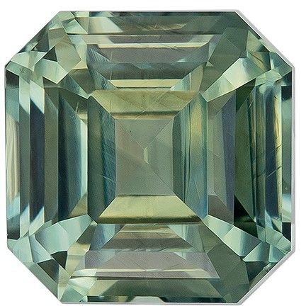 Genuine Gem Blue Green Sapphire Asscher Shaped Gem No Heat with GIA Cert, 1.56 carats, 5.91 x 5.81 x 4.39 mm - Great Colored Gem