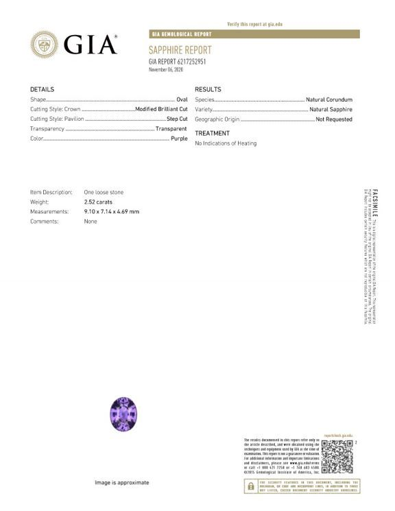 Genuine Gem Purple Sapphire Oval Shaped Gem, No Heat with GIA Cert, 2.52 carats, 9.1 x 7.14 x 4.69 mm - Truly Stunning