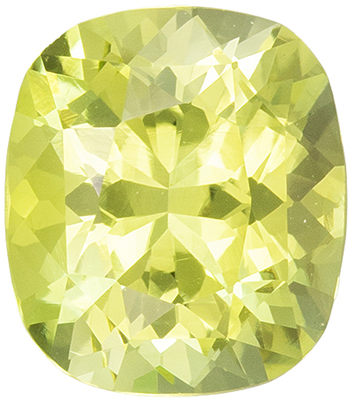 Genuine Gemstone Yellow Chrysoberyl Cushion Cut, 1.83 carats, 7.8 x 6.9 mm