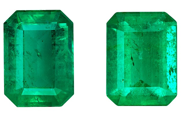 Genuine Vibrant Emerald Gemstones, Emerald Cut, 1.52 carats, 6.8 x 5 mm Matching Pair, AfricaGems Certified - Great for Studs