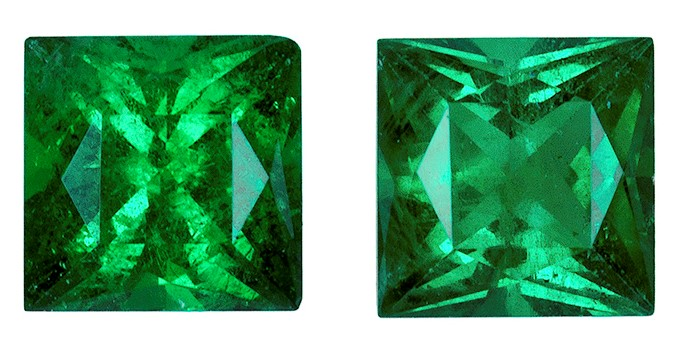 Genuine Vibrant Emerald Gemstones, Princess Cut, 0.98 carats, 4.6 mm Matching Pair, AfricaGems Certified - A Great Deal