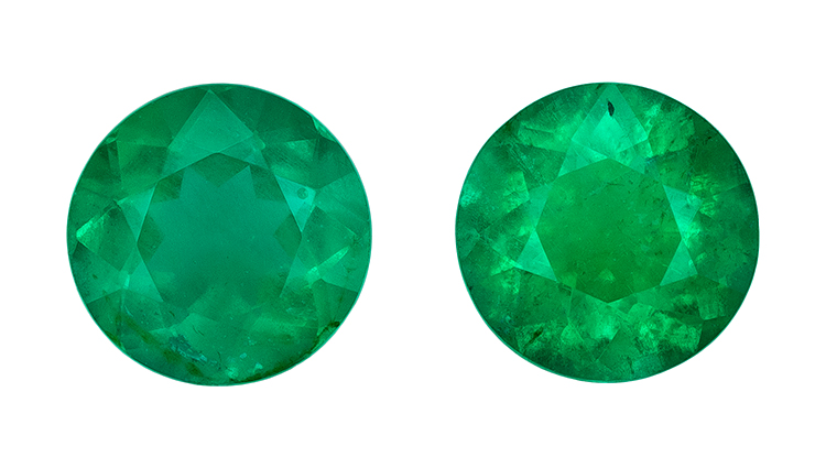 Genuine Vibrant Emerald Gemstones, Round Cut, 0.61 carats, 4.5 mm Matching Pair, AfricaGems Certified