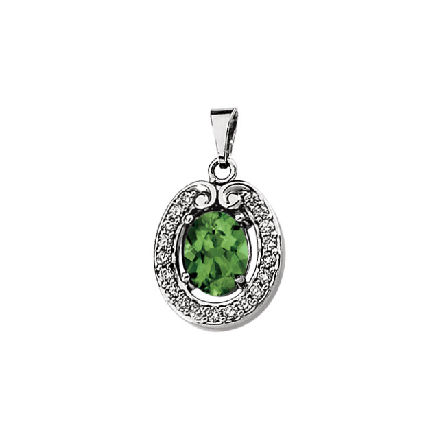Chic Genuine Green Tourmaline & Diamond Pendant