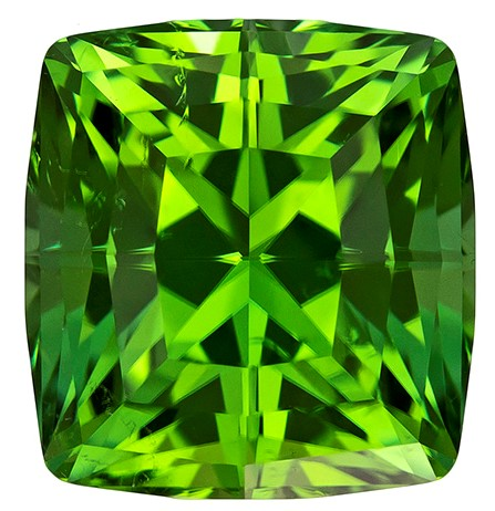 Genuine Green Tourmaline Gemstone, Cushion Cut, 6.49 carats, 10.5 x 9.8 mm , AfricaGems Certified - A Great Colored Gem