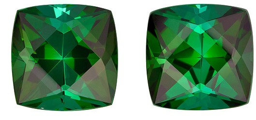 Genuine Green Tourmaline Gemstones Matched Pair, Cushion Cut, 7.16 carats, 9 mm , AfricaGems Certified