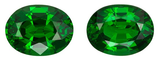 Genuine Vivid Tsavorite Gemstones, Oval Cut, 1.93 carats, 6.8 x 5.2 mm , AfricaGems Certified - A Great Matched Pair