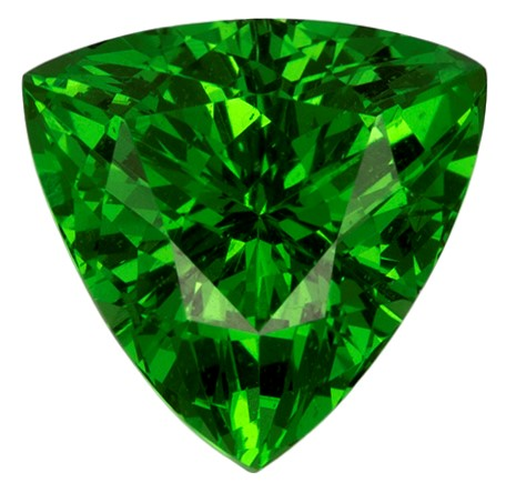 Genuine Vivid Tsavorite Gemstone, Trillion Cut, 0.91 carats, 6.5 mm , AfricaGems Certified - A Great Buy