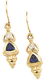 Genuine Iolite and Diamond Earring